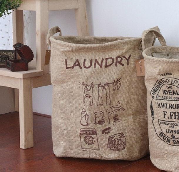Lniane kosze na pranie pięknie wpiszą się w eko design (źródło: pinterest)