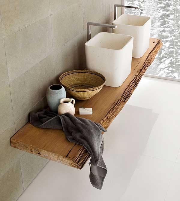Szafka wykonana z belki drewna będzie ciekawym rozwiązaniem w eko łazience (źródło: pinterest)