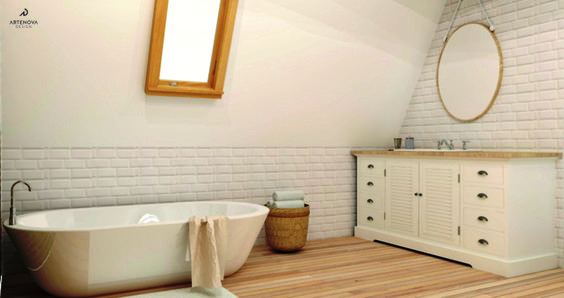 pomalowania na biało cegła w łazience