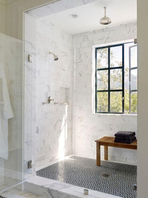 kabina prysznicowa walk-in w marmurze
