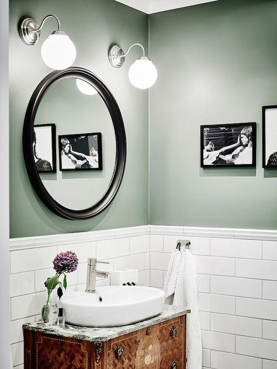 modna zielona łazienka